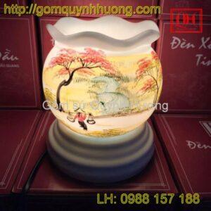Đèn xông tinh dầu gốm sứ miệng lượn - Đường quê