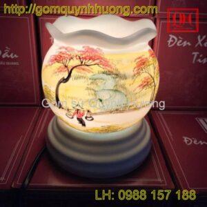 Đèn xông tinh dầu gốm sứ miệng lượn-Đường quê2
