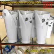 Lọ hoa Bát Tràng dáng ly men trắng 2