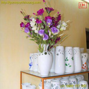 Lọ hoa Bát Tràng cốt sứ men trắng
