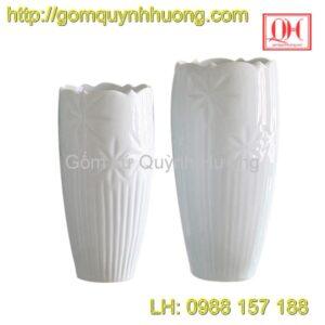 Lọ hoa sứ Bát Tràng men trắng 2