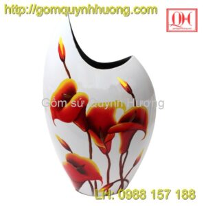 Lọ hoa Bát Tràng sơn mài dáng mang cá