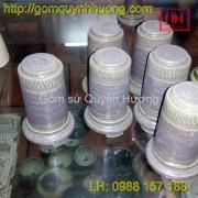 Ống tăm gốm sứ men đá màu rêu -1