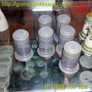 Ống tăm gốm sứ men đá màu rêu -2
