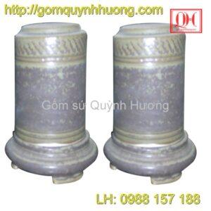 Ống tăm gốm sứ men đá màu rêu -3