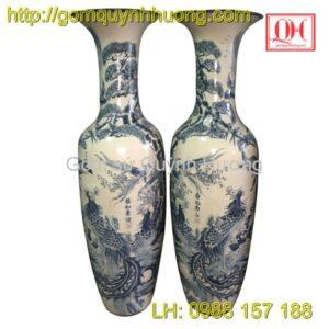 Lọ lục bình gốm sứ Bát Tràng - Bách điểu chầu phụng