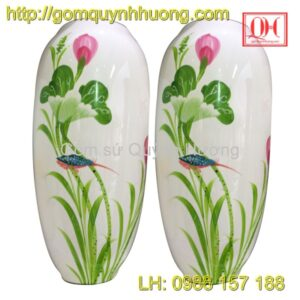 Bình hoa sơn mài cốt gốm sứ Bát Tràng