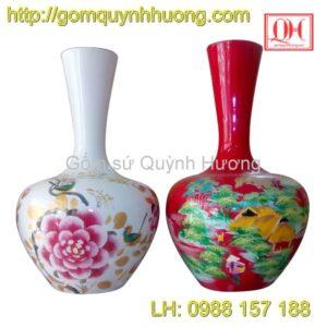 Bình hoa Bát Tràng dáng tỏi cổ cao
