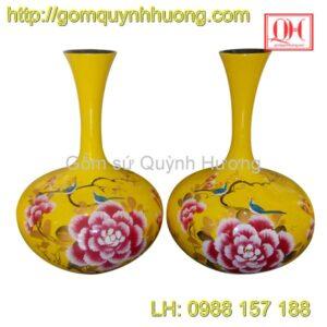 Bình hoa Bát Tràng dáng tỏi cổ cao vẽ chim hoa