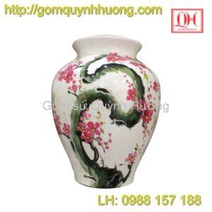 Bình hoa Bát Tràng sơn mài dáng vò cảnh hoa đào