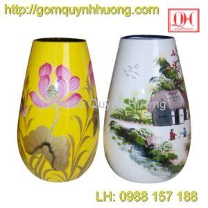 Bình hoa sơn mài cốt gốm Bát Tràng đẹp
