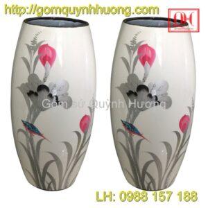 Lọ hoa Bát Tràng dáng bom sơn mài cảnh 11
