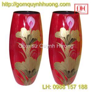 Lọ hoa Bát Tràng dáng bom sơn mài cảnh 2