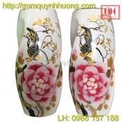 Lọ hoa Bát Tràng dáng bom xoắn sơn mài hoa phù dung