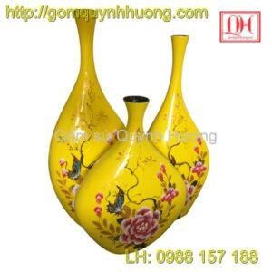 Lọ hoa gốm sứ Bát Tràng bộ 3 - Sơn mài hoa phù dung