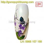 Lọ hoa gốm sứ Bát Tràng dáng bom xoắn sơn mài