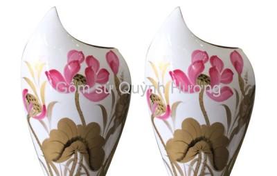 Lọ hoa gốm sứ Bát Tràng - Lọ sơn mài dáng mang cá