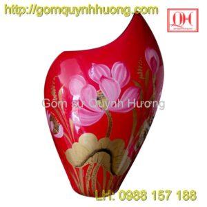Lọ hoa sơn mài dáng mang cá cốt gốm Bát Tràng