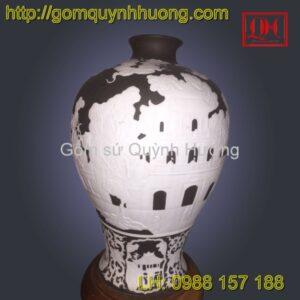 Đèn trang trí gốm sứ Bát Tràng cảnh Hà Nội đen trắng