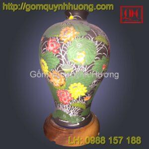 Đèn trang trí gốm sứ Bát Tràng cảnh hoa sen vẽ màu
