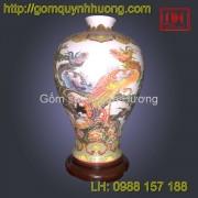 Đèn trang trí gốm sứ Bát Tràng cảnh Long Phụng