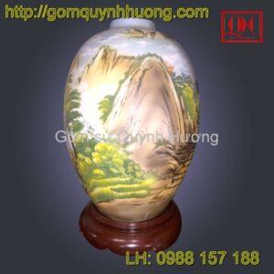 Đèn trang trí gốm sứ Bát Tràng cảnh sơn thủy