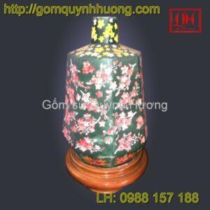 Đèn trang trí gốm sứ Bát Tràng lục giá cao vẽ hoa