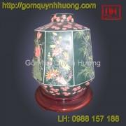 Đèn trang trí gốm sứ Bát Tràng lục giá thấp vẽ cảnh