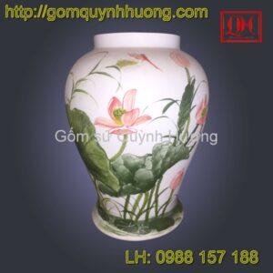 Đèn gốm sứ thấu quang Bát Tràng vẽ hoa sen