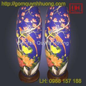 Đèn trang trí gốm sứ dáng bom vẽ chim hoa cúc