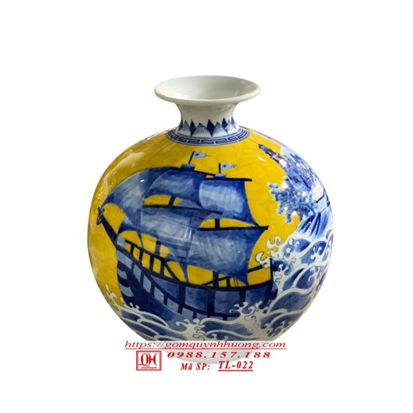 Bình hút lộc gốm sứ Bát Tràng - Thuận buồm xuôi gió