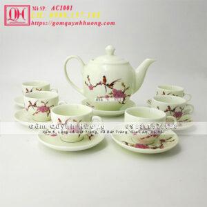 Bộ ấm trà đẹp vẽ cảnh chim đào 650ml, 500ml, 800ml