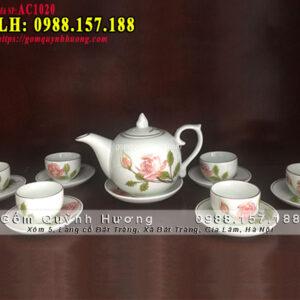 Bộ bình trà đẹp gốm sứ Bát Tràng vẽ hoa hồng viền vàng