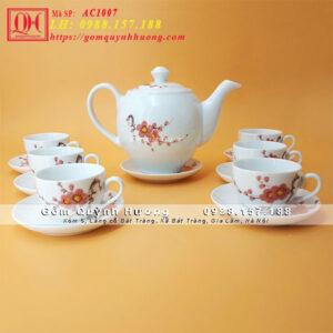 Bộ ấm chén uống trà cao cấp vẽ hoa đào