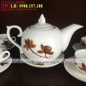 Bộ ấm chén uống trà đẹp sen vàng cao cấp mã AC1025