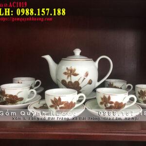 Bộ ấm chén uống trà đẹp vẽ hoa sen bằng vàng
