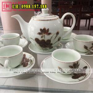 Bộ tách trà sứ Bát Tràng vẽ vàng cao cấp AC1028