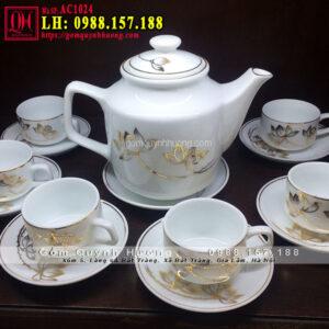 Bộ trà bát tràng đẹp với sen vàng kim mã AC1024