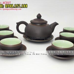 Bình trà tử sa dáng chóp bạc kẻ chỉ - Bộ ấm trà tử sa