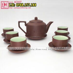 Bộ ấm trà tử sa đẹp Bát Tràng dáng tích PLT nâu