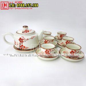 Ấm pha trà đẹp men kem vẽ đào của Bát Tràng