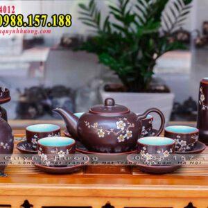 Ấm trà Bát Tràng cao cấp vẽ đào bộ đủ phụ kiện