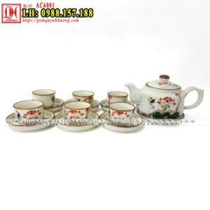 Ấm trà gốm sứ Bát Tràng men kem vai vuông vẽ sen