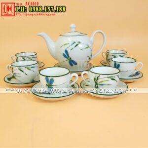 Bộ ấm pha trà đẹp men xanh ngọc vẽ chuồn tre