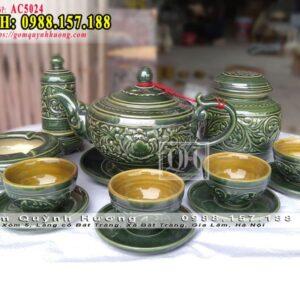 Bộ ấm trà đẹp cao cấp khắc nổi của Bát Tràng