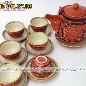 Bộ ấm trà sứ Bát Tràng dáng vại khắc nổi hoa văn