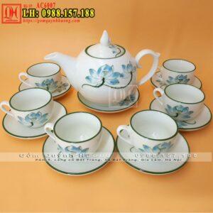 Ấm uống trà dáng chóp lửa, bộ ấm chén gốm sứ Bát Tràng