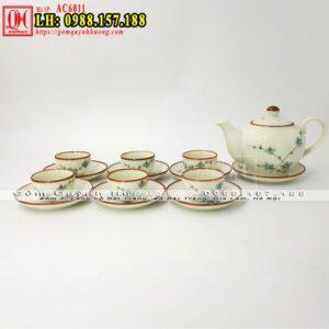 Bộ chén uống trà đẹp men kem vẽ đào AC6011