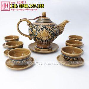 Giá cả bộ ấm trà cổ - Mẫu bộ ấm chén trà khắc nổi