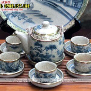 Ấm chén đẹp cao cấp Bát Tràng men rạn bọc đồng - Bộ ấm trà gốm sứ
